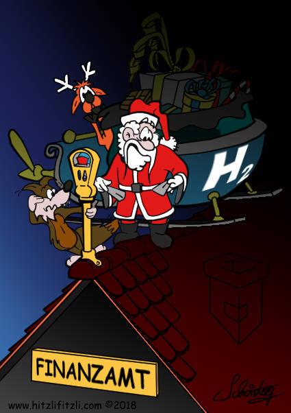 Sogar Benny Hitzlifitzli ist überrascht, auf dem Dach des Finanzamtes ist eine Parkuhr angebracht. Auch der Weihnachtsmann hat kein Kleingeld. Und seine Rentiere sind entsetzt! Wie soll das nur weitergehen! Der Brennstoffzellen-Weihnachtschlitten hat die Entwickler ein unbeschreibliches Vermögen, Nerven und Zeit gekostet. Und sie haben es investiert, um die Welt zu retten.