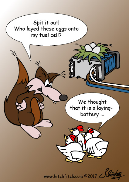 Hitzlifitzli and chicken who layed eggs onto a fuel cell because they believed it is a laying battery.