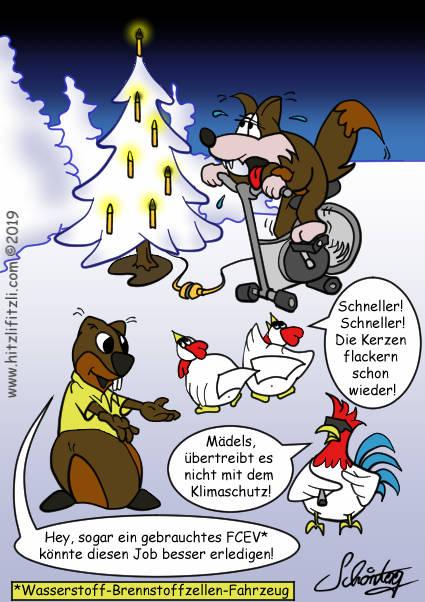 Am Weihnachtsbaum ist die elektrischen Weihnachtsbeleuchtung mit einem Fahrrad verbunden, auf dem sich Hitzlifitzli abstrampelt. Die Zunge haengt ihm schon raus. Die Huehner feuern ihn an: Schneller, schneller, die Kerzen flackern schon wieder! Der Hahn meint: Ich glaube, ihr uebertreibt es etwas mit dem Klimaschutz. Hydrochan erwidert: Ein gebrauchtes FCEV (Brennstoffzellen-Fahrzeug) koennte diesen Job effizienter erfuellen.