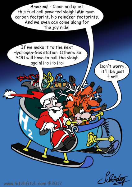 Santa Claus, Hitzlifitzli the sly fox and the reindeers are having fun flying with the gifts in a propeller-sleigh. A reindeer says: Amazing! - Clean and quiet this fuel cell powered sleigh! Minimum  carbon footprint. No reindeer footprints. And we even can come along for the joy ride! - And Santa Claus replies: If we make it to the next Hydrogen-Gas station. Otherwise YOU will have to pull the sleigh again! Ho Ho Ho! But Benny Hitzlifitzli is optimistic: Don't worry, it'll be just fine!