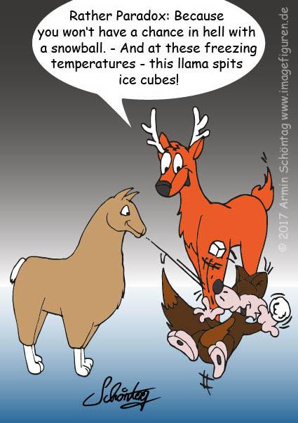 Icecube spitting llama in snow