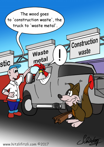 The cock and Hitzlifitzli the fox are advised to seperate the waste correctly: The wood goes to 'construction waste', the truck to 'waste metal. This makes the cock upset. His beautiful truck is not waste. And Hitzlifitzli smiles.