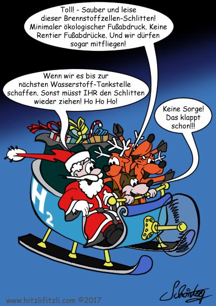 H2 Winter Experiment: Der Weihnachtsmann, Hitzlifitzli und die Rentiere sitzen im Schlitten mit Propeller. Eines der Rentiere sagt zum Weihnachtsmann: Toll! - Sauber und leise dieser Brennstoffzellen-Schlitten! Minimaler oekologischer Fussabdruck. Keine Rentier-Fussabdruecke. Und wir duerfen sogar mitfliegen! - Und der Weihnachtsmann antwortet: Wenn wir es bis zur naechsten Wasserstoff-Tankstelle schaffen. Sonst muesst IHR den Schlitten wieder ziehen! Ho Ho Ho! - Aber Benny Hitzlifitzli ist zuversichtlich und meint: Keine Sorge! Das klappt schon!