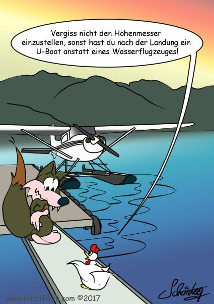Benny will Wasserflugzeug fliegen, das Huhn rät ihm unbedingt den Höhenmesser richtig einzustellen, damit er bei der Landung aus dem Wasserflugzeug kein U-Boot macht.