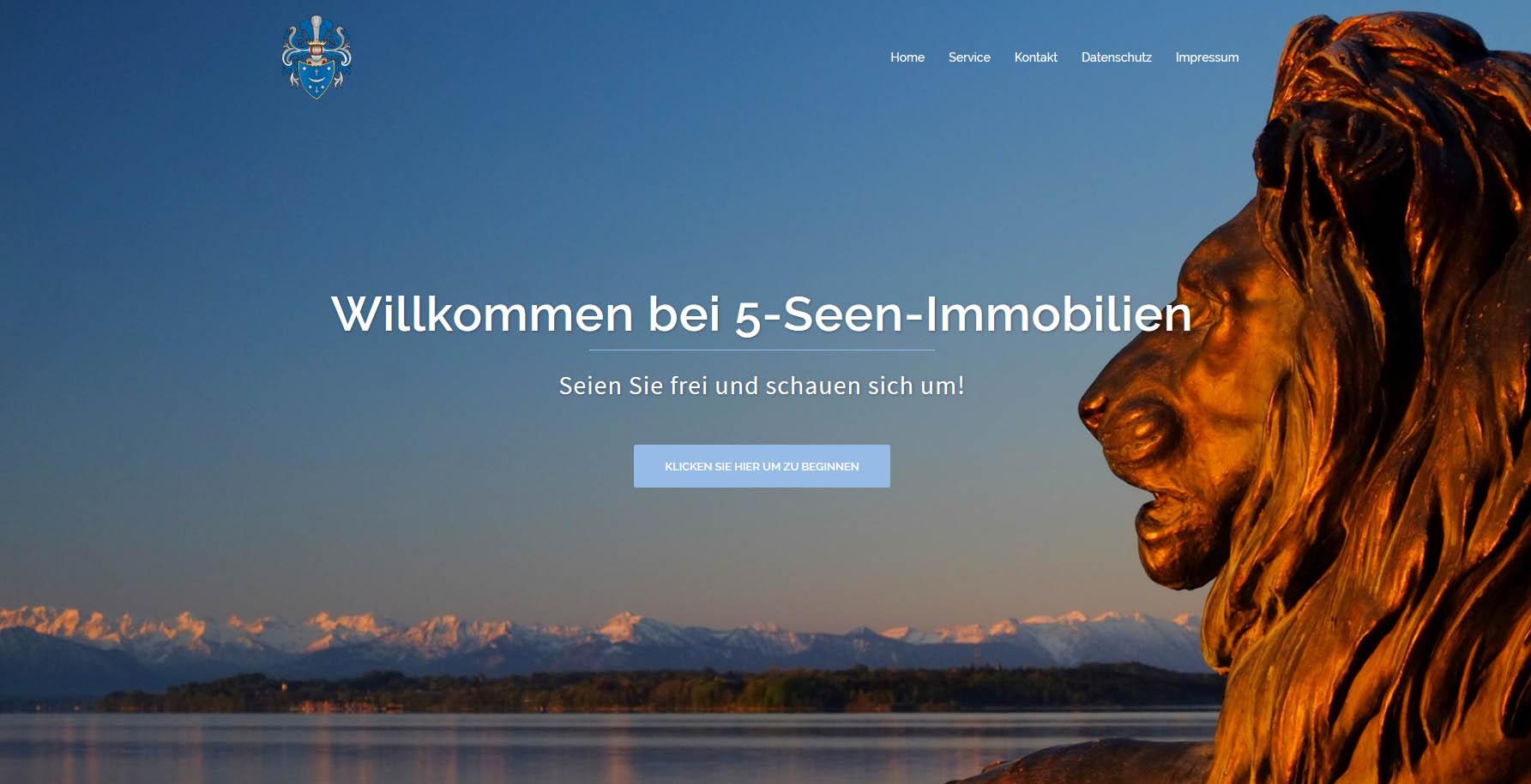 5 Seen Immobilien: Webseiten-Beispiel für eine Firmenkunden-Seite